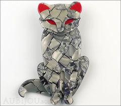 Lea Stein Sacha The Cat Brooch Pin Silver Grey Red Front