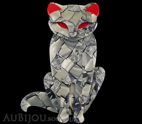Lea Stein Sacha The Cat Brooch Pin Silver Grey Red Gallery
