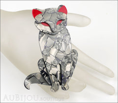Lea Stein Sacha The Cat Brooch Pin Silver Grey Red Mannequin