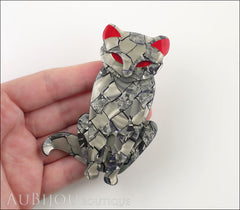 Lea Stein Sacha The Cat Brooch Pin Silver Grey Red Model