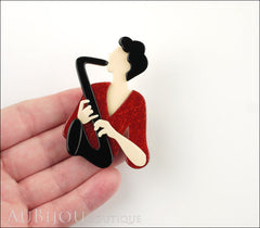 Lea Stein Saxophonist Brooch Pin Black Red Cream Model