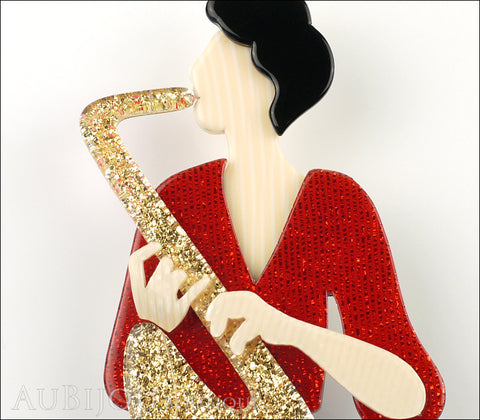 Lea Stein Saxophonist Brooch Pin Gold Red Cream Gallery