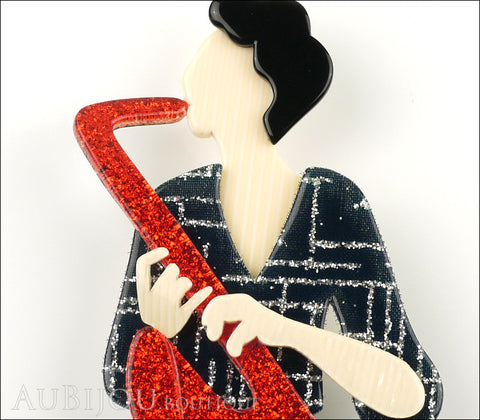 Lea Stein Saxophonist Brooch Pin Red Black Cream Gallery