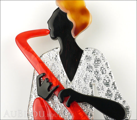 Lea Stein Saxophonist Brooch Pin Red Silver Black Gallery
