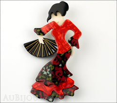 Lea Stein Seville Flamenco Dancer Brooch Pin Red Black Front