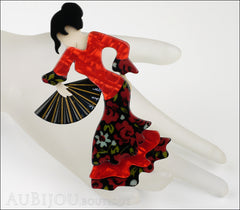 Lea Stein Seville Flamenco Dancer Brooch Pin Red Black Mannequin