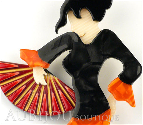 Lea Stein Seville Flamenco Dancer Brooch Pin Orange Black Gallery