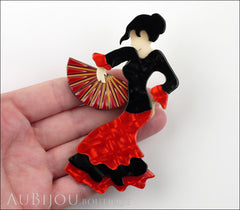 Lea Stein Seville Flamenco Dancer Brooch Pin Floral Red Model