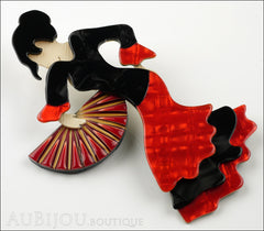 Lea Stein Seville Flamenco Dancer Brooch Pin Floral Red Side