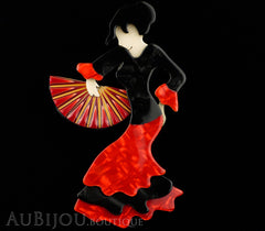 Lea Stein Seville Flamenco Dancer Brooch Pin Floral Red