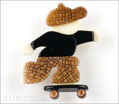 Lea Stein Skateboarder Boy Brooch Pin Chocolate Brown Mesh Black Front