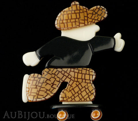 Lea Stein Skateboarder Boy Brooch Pin Chocolate Brown Mesh Black Gallery