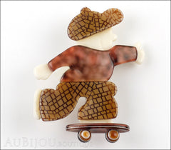 Lea Stein Skateboarder Boy Brooch Pin Chocolate Brown Mesh Tortoise Front