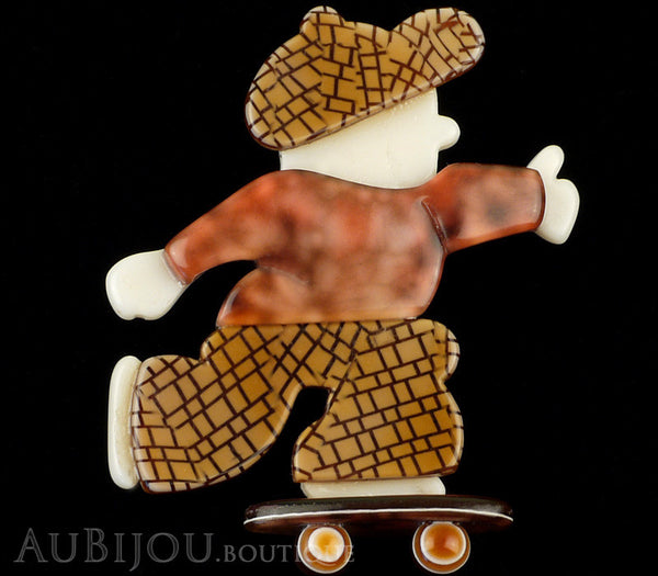 Lea Stein Skateboarder Boy Brooch Pin Chocolate Brown Mesh Tortoise Gallery