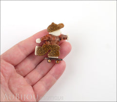 Lea Stein Skateboarder Boy Brooch Pin Chocolate Brown Mesh Tortoise Model