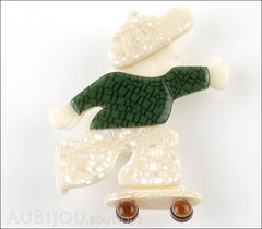 Lea Stein Skateboarder Boy Brooch Pin Pearly White Green Mesh Front