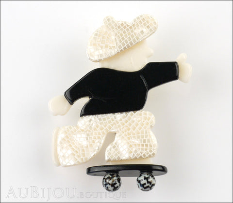 Lea Stein Skateboarder Boy Brooch Pin Pearly White Mesh Black Gallery