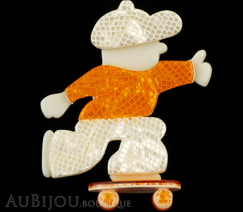 Lea Stein Skateboarder Boy Brooch Pin Pearly White Mesh Orange Gallery