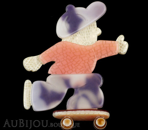 Lea Stein Skateboarder Boy Brooch Pin Pink Mesh Lavander Purple Gallery