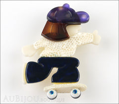Lea Stein Skateboarder Girl Brooch Pin Blue White Tortoise Purple Front
