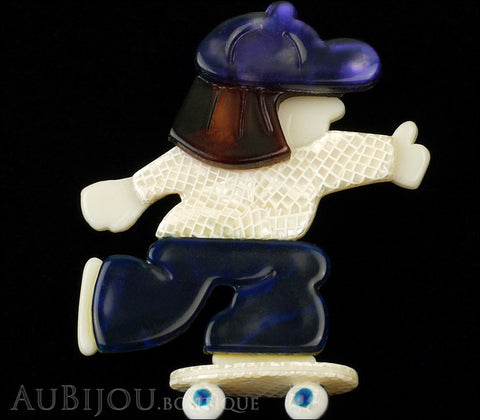 Lea Stein Skateboarder Girl Brooch Pin Blue White Tortoise Purple Gallery