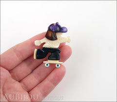 Lea Stein Skateboarder Girl Brooch Pin Blue White Tortoise Purple Model