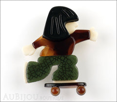 Lea Stein Skateboarder Girl Brooch Pin Dark Caramel Green Black Front