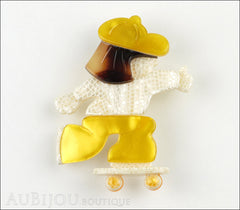 Lea Stein Skateboarder Girl Brooch Pin Pearly White Yellow Tortoise Front