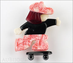 Lea Stein Skateboarder Girl Brooch Pin Pink Mesh Black Red Front