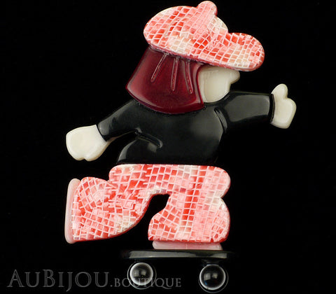 Lea Stein Skateboarder Girl Brooch Pin Pink Mesh Black Red Gallery