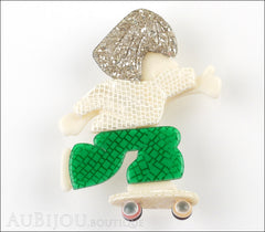 Lea Stein Skateboarder Girl Brooch Pin White Green Sparkly Silver Front