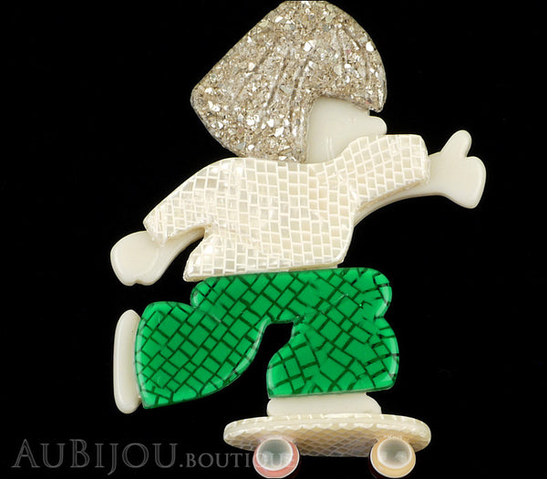 Lea Stein Skateboarder Girl Brooch Pin White Green Sparkly Silver Gallery