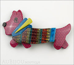Lea Stein Socks Soknia Terrier Dog Brooch Pin Purple Mesh Rainbow Lurex Front