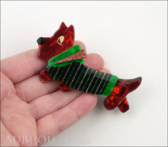 Lea Stein Socks Soknia Terrier Dog Brooch Pin Red Black Green Lurex Model
