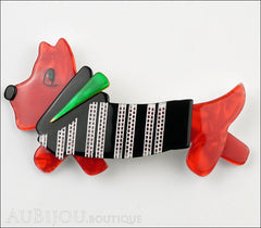 Lea Stein Socks Soknia Terrier Dog Brooch Pin Red Black White Green Front
