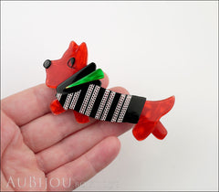 Lea Stein Socks Soknia Terrier Dog Brooch Pin Red Black White Green Model