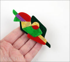 Lea Stein Sonia Delaunay Abstract Art Brooch Pin Green Red Yellow Purple Model
