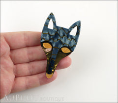 Lea Stein Tete Fox Head Brooch Pin Blue Grey Yellow Model