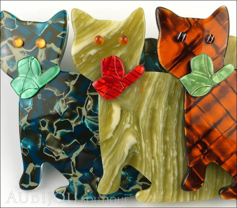 Lea Stein Triple Watching Cat Brooch Pin Blue Green Orange Gallery