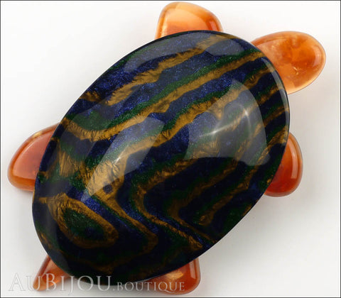 Lea Stein Turtle Brooch Pin Blue Green Gold Amber Gallery