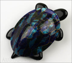 Lea Stein Turtle Brooch Pin Blue Green Mosaic Black Front
