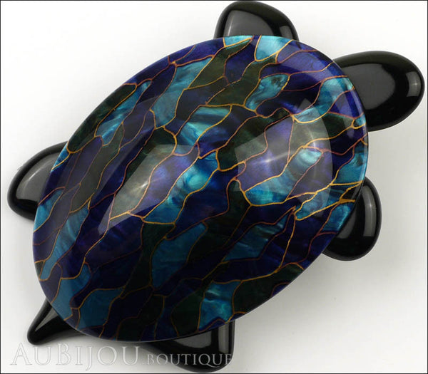 Lea Stein Turtle Brooch Pin Blue Green Mosaic Black Gallery