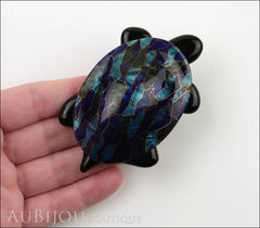 Lea Stein Turtle Brooch Pin Blue Green Mosaic Black Model