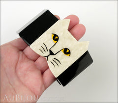 Marie-Christine Pavone Bracelet Cat Face Black Grey Galalith Model