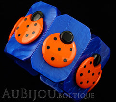 Marie-Christine Pavone Bracelet Ladybug Insect Cobalt Blue Orange Galalith Paris France Black