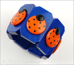 Marie-Christine Pavone Bracelet Ladybug Insect Cobalt Blue Orange Galalith Paris France Front