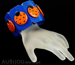 Marie-Christine Pavone Bracelet Ladybug Insect Cobalt Blue Orange Galalith Paris France Mannequin Black