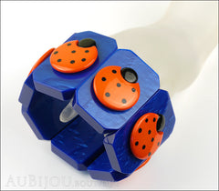 Marie-Christine Pavone Bracelet Ladybug Insect Cobalt Blue Orange Galalith Paris France Mannequin