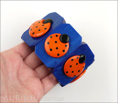 Marie-Christine Pavone Bracelet Ladybug Insect Cobalt Blue Orange Galalith Paris France Model