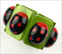 Marie-Christine Pavone Bracelet Ladybug Insect Green Black Galalith Paris France Front